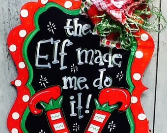 Elf door hanger, elf door sign, elf sign, Santa sign, Santa door hanger, Santa door sign, christmas door sign, christmas door hanger,