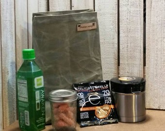Gift for Him Reusable Waxed Canvas Lunch Bag Shown in Olive