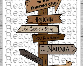 Fictional Lands Sign Post Digital Print