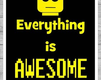 Everything is Awesome Lego Inspired Digital Print with Black Background