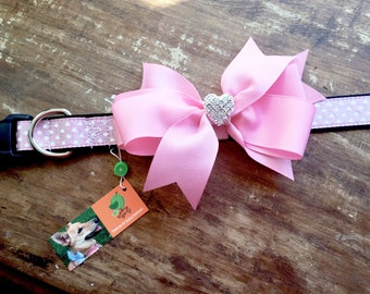 Bow dog collar, rhinestone dog collar, small, medium & large, Removable bow dog collar, fancy dog collar, pink dog collar