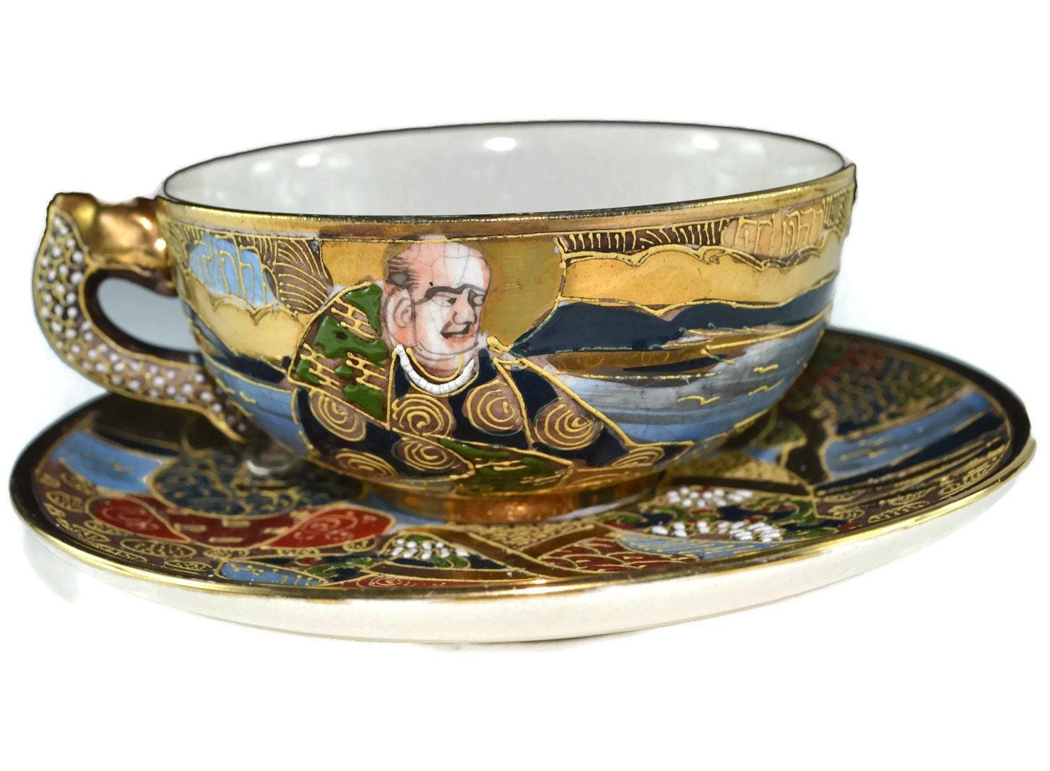 Vintage Satsuma Moriage Tea Cup Japanese Handpainted Ornate