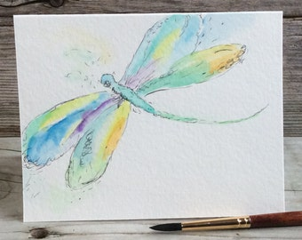 Watercolor dragonfly. Birthday/Thank You/Get Well Card. Watercolour/Ink. Hand-painted. Stationery. Original Artwork. Dragonfly Art. OOAK