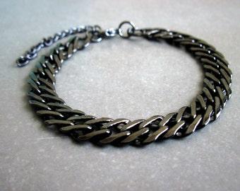 Men's Black Bracelet , Gunmetal Bracelet For Men ,  Jewelry For Men , Bracelet For Men , Gift for Him , boyfriend gift , husband gift