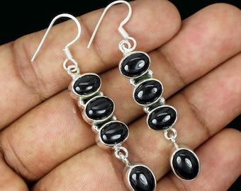 Black Onyx Earring, Black Onyx Stone, Black Onyx Jewellery, Onyx Earring, 925 Sterling Silver, Silver Earring, Dangle Earring, Earrings,8191