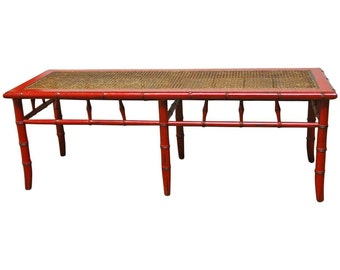 Red Lacquer Faux Bamboo Cane Bench