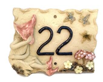 House number plaque, ceramic door number,  fairy garden number plaque
