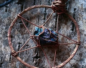 SPIRIT || Hand crafted Pentacle with a natural PEACOCK ORE stone, hammered pure Copper, sustainable, eco friendly, recycled Copper wirewrap