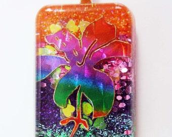 Let's create a rainbow, flower, energy, freedom - handmade resin pendant necklace
