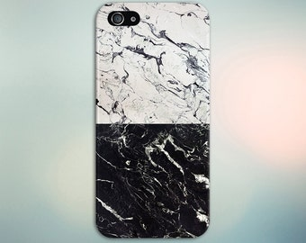 Cracked White x Black Marble Split Design Phone Case for iPhone 6 6 Plus iPhone 7  Samsung Galaxy s8 edge s6 and Note  S8 Plus Phone Case