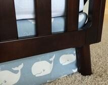 Whales Crib Skirts, Nautical baby bedding, Nautical crib skirts, crib skirt, baby blue crib skirt, Baby boy crib skirt