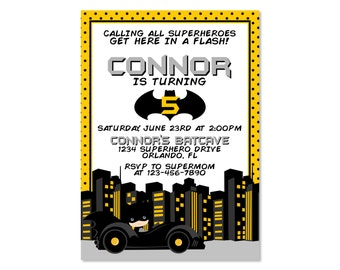 Batman Inspired Birthday Invitation