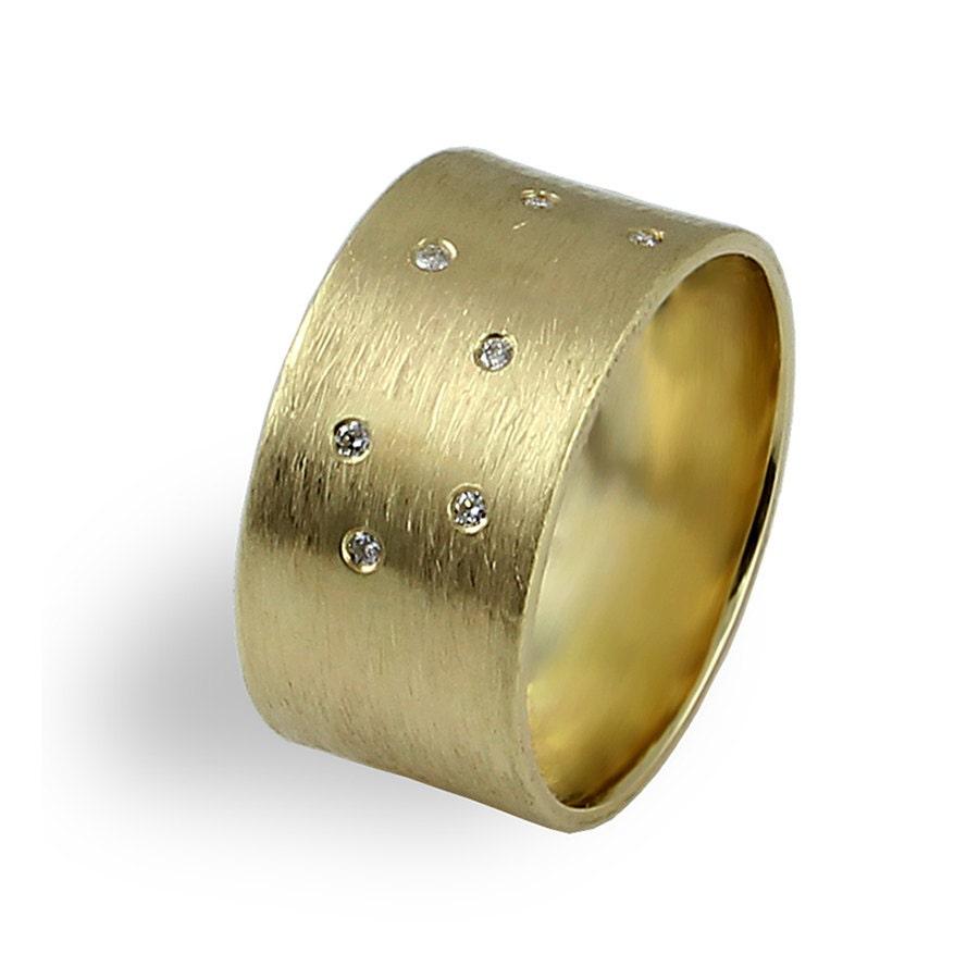 wide wedding band diamonds wedding ring brushed texture