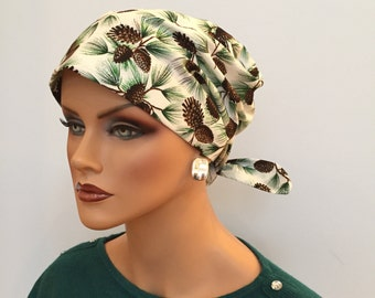 Sandra Scarf, A Women's Surgical Scrub Cap, Cancer Headwear, Chemo Head Scarf, Alopecia Hat, Head Wrap, Head Cover, Hair Loss - Pinecones