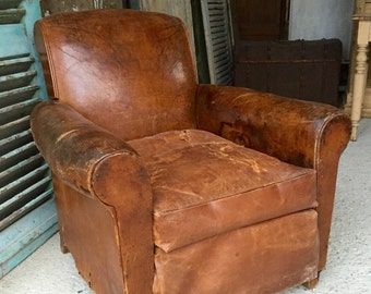 NOW SOLD - Lovely vintage French brown leather club chair