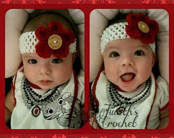 Red Stretchy Headband with Crochet Flower