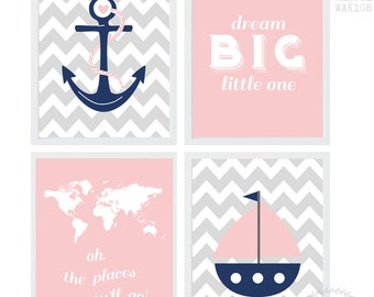 Baby Girl Nursery Art / Nautical Nursery Printables / Nautical Nursery Decor / Anchor Sailboat World Dream Big Print Navy Pink Grey Set of 4