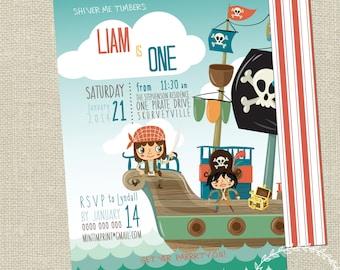 Pirate Invitation / Printable Pirate Party Invite / Boys Birthday Invitation 2nd 3rd 4th / Ocean / Personalised Pirate Party Invitation JPEG