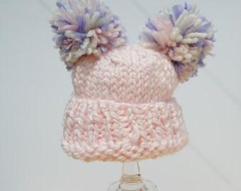 Baby Girl Pom pom Hat