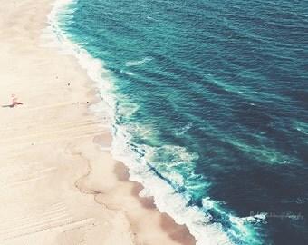 Beach photography, large aerial beach photo, sea photography, ocean print, beach wall art, fine art print, blue wall art decor, home decor
