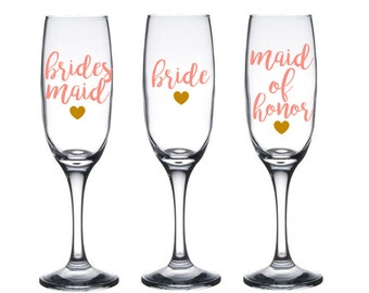 3 Personalized Bridesmaid Glasses - Bridesmaid Champagne Glasses - Bridesmaid Flutes