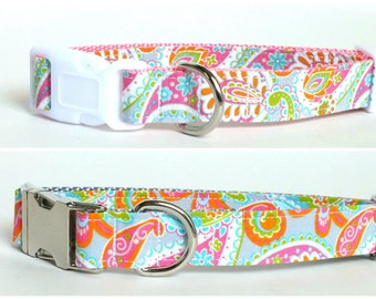 Paisley Dog Collar, preppy, metal or plastic hardware