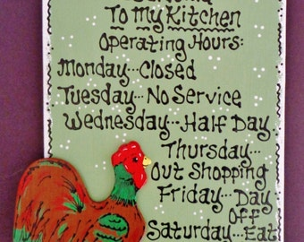 COUNTRY ROOSTER Kitchen Operating Hours SIGN Plaque Wood Wall Decor Sage Green