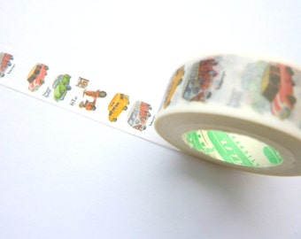 Watercolour Effect Vintage Cars Washi Tape 15mm x 10m
