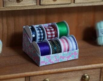 Dolls House Miniature Ribbon Reels Display Box