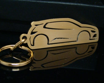 24ct Gold Plated Volkswagen Scirocco Keyring, Brushed Steel VW Scirocco Car Cut Out Keyring, Volkswagen Keychain, VW Key Fob, Gift Idea