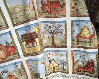 """Baby Quilt, Crib Quilt, Play Mat, Folk Art-""""Home is...""""44 by 31 inches"""