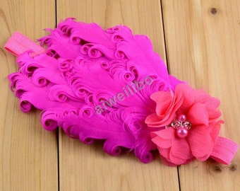 Flower girl headbands, curly feather headband, baby headband