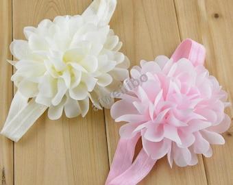 Chiffon flower headband, girls headband, newborn headband