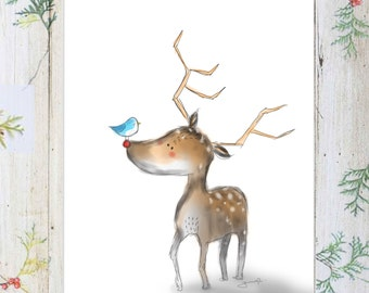 Reindeer. nursery room art. Christmas art print