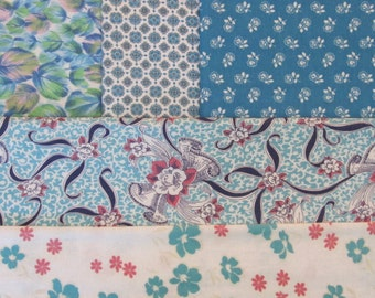 Vintage Feedsack Aqua Medley - Authentic Feed Sack Cotton Quilt Fabric / 1930's
