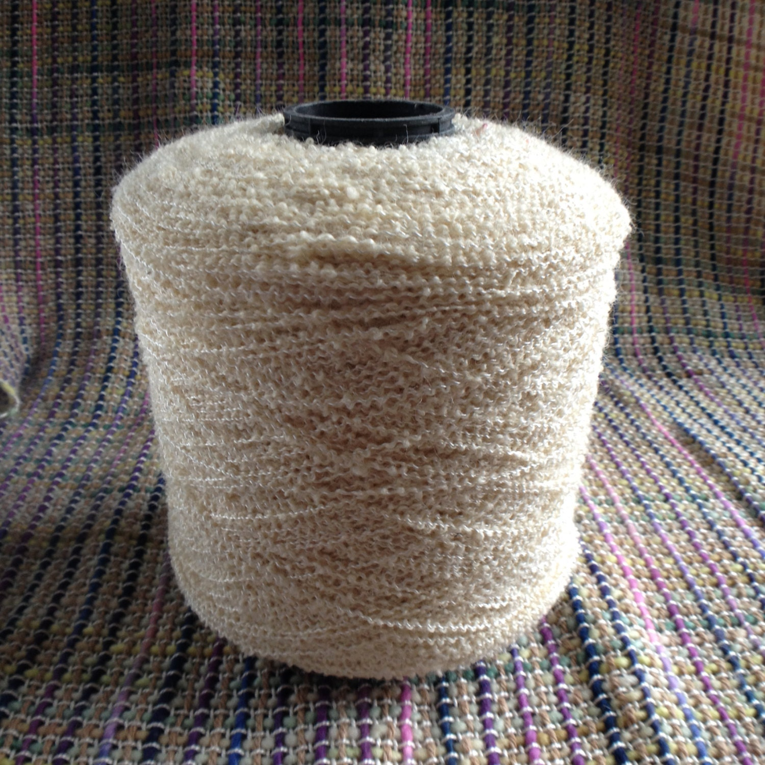 Natural wool boucle spool of yarn for weaving, crochet ...