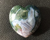 Moss Agate Gemstone Heart/ hand carved heart/ puffy heart / palm stone / mecitation tool / reiki healing