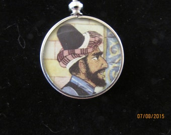 Arabian Nights Pendant with Original Vintage Art
