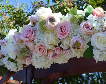 Wedding Arch, Archway Swag, Wedding Ceremony Swag, Arbor Arch, Church Ceremony Swag,  Floral Arch, White Arch, Floral Arbor