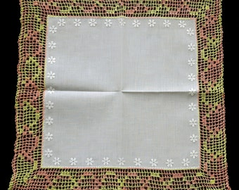White cotton handkerchief with handmade lace