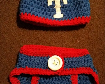 Crocheted Baby Beanie and Diaper Cover