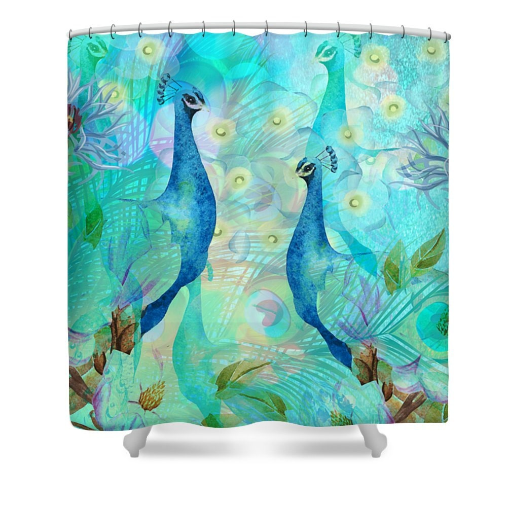peacock shower curtain teal turquoise soft abstract