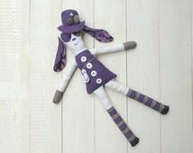magic fantasy plush violet whit buttons