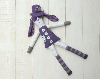 magic fantasy plush violet whit buttons