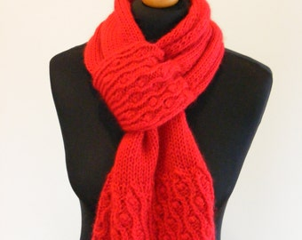 Bright red keyhole scarf