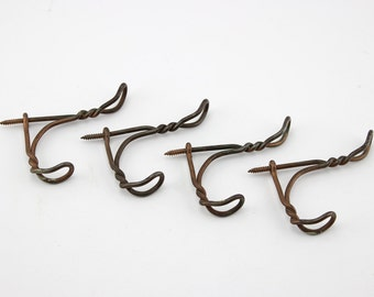 Vintage Twisted  Screw In Wire Coat Hooks Set of 4