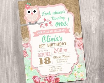 Owl birthday invitation, girl owl invitation, owl party, girl 1st birthday, first birthday invitation girl, digital, Printable Invitation