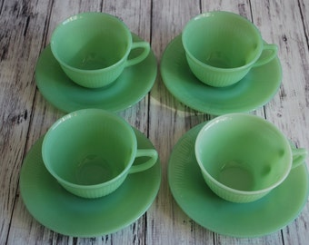 Fire King Jadeite Jadite Jane Ray Cups and Saucers, Eight Pieces, Marked
