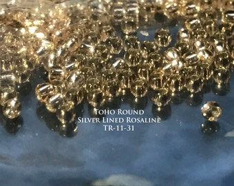 Toho 11/0 Round Seed Beads - Silver Lined Rosalina - Approximately 20GM (TR-11-31)