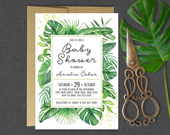 Tropical Baby Shower Invitation Tropical Greenery Palm Leaves Baby Shower Invitation Gender Neutral Green Tropical Baby Shower Invitation